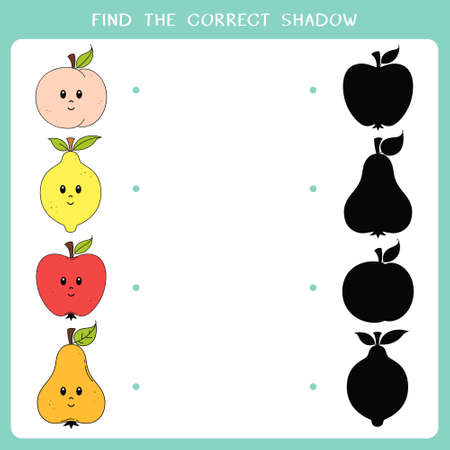 Find the correct shadow for fruit. Simple educational game for kids. Vector worksheet