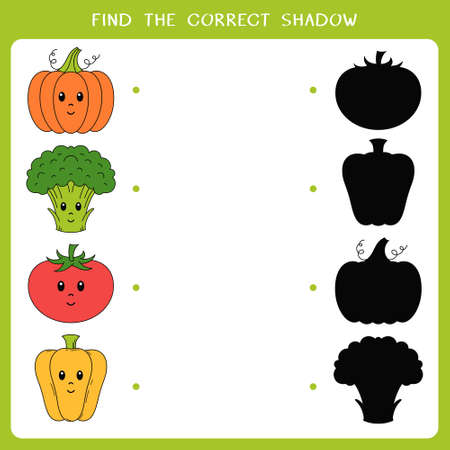 Find the correct shadow for object. Vector worksheet of simple educational game for kids Illusztráció