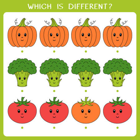 Simple logic game for kids. Find the odd one in the group. Vector illustration Illusztráció