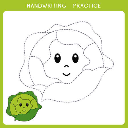 Handwriting practice sheet. Simple educational game for kids. Vector illustration of cute cabbage for coloring book Illusztráció