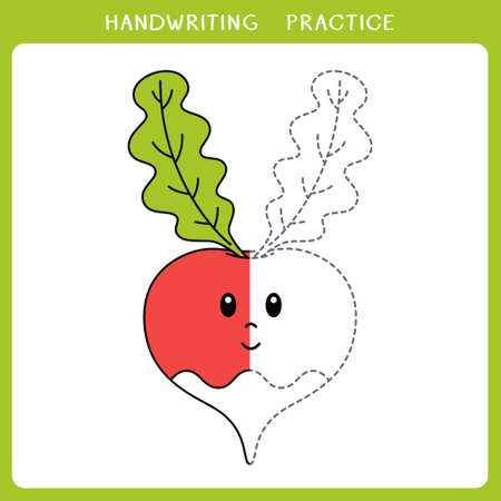 Handwriting practice sheet. Simple educational game for kids. Vector illustration of cute radish for coloring book