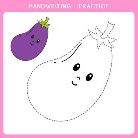 Handwriting practice sheet. Simple educational game for kids. Vector illustration of cute eggplant for coloring book