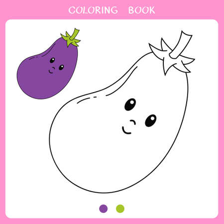 Simple educational game for kids. Vector illustration of cute eggplant for coloring book