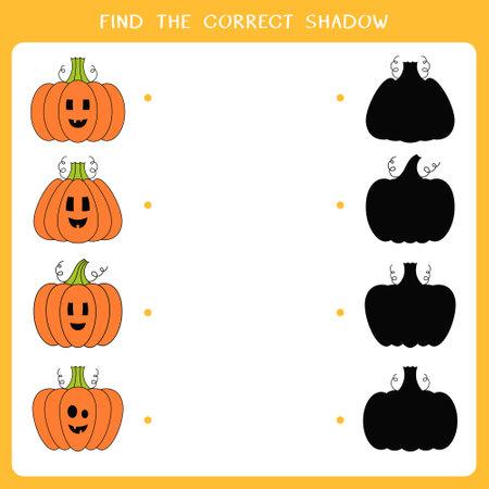 Find the correct shadow for halloween pumpkin. Simple educational game for kids. Vector worksheet Illusztráció