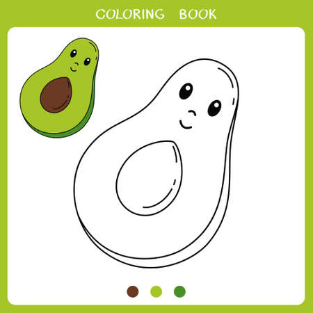 Simple educational game for kids. Vector illustration of cute avocado for coloring book