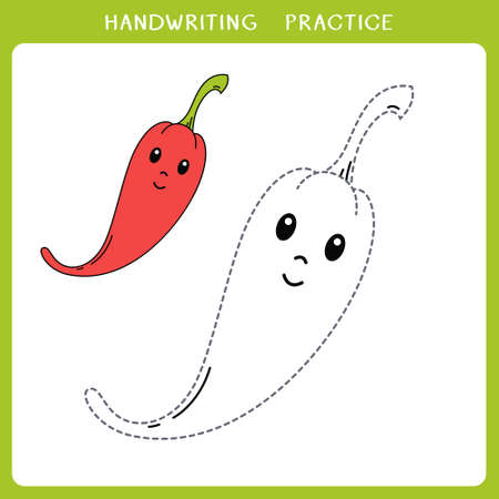 Handwriting practice sheet. Simple educational game for kids. Vector illustration of cute chili pepper for coloring book