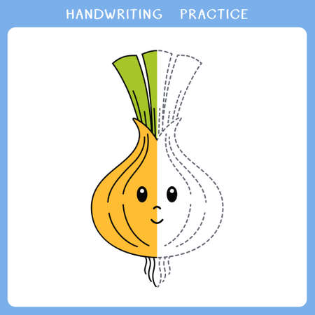 Handwriting practice sheet. Simple educational game for kids. Vector illustration of cute onion for coloring book