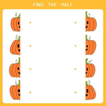 Find the half for halloween pumpkin. Vector worksheet of simple educational game for kids Illusztráció