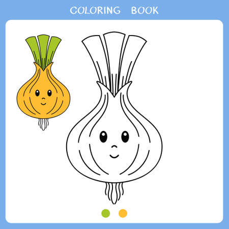 Simple educational game for kids. Vector illustration of cute onion for coloring book