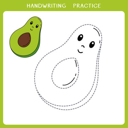 Handwriting practice sheet. Simple educational game for kids. Vector illustration of cute avocado for coloring book Illusztráció