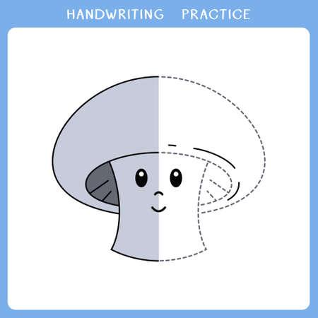 Handwriting practice sheet. Simple educational game for kids. Vector illustration of cute mushroom for coloring book Illusztráció