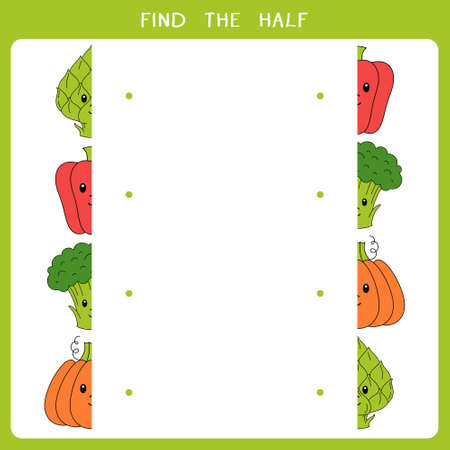 Find the half for vegetable. Vector worksheet of simple educational game for kids