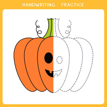 Handwriting practice sheet. Simple educational game for kids. Vector illustration of cute halloween pumpkin for coloring book