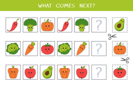 Simple logic game for kids. Find the next object in the row. Cut and glue. Vector worksheet