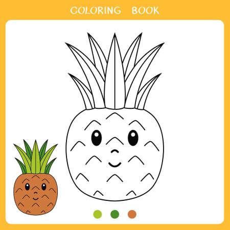 Simple educational game for kids. Vector illustration of cute pineapple for coloring book Vektorgrafik