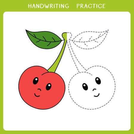 Handwriting practice sheet. Simple educational game for kids. Vector illustration of cute cherry for coloring book