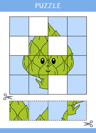 Puzzle for kids. Simple educational game. Cut and glue. Vector worksheet