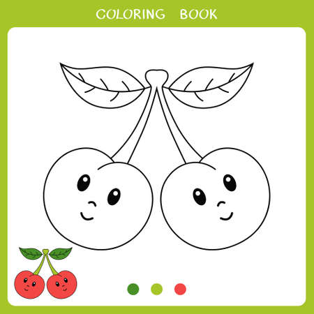 Simple educational game for kids. Vector illustration of cute cherry for coloring book