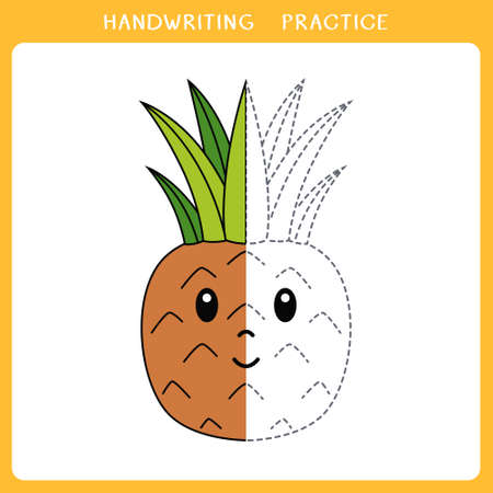 Handwriting practice sheet. Simple educational game for kids. Vector illustration of cute pineapple for coloring book