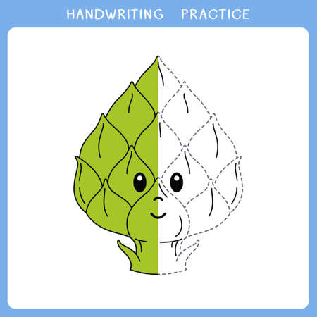 Handwriting practice sheet. Simple educational game for kids. Vector illustration of cute artichoke for coloring book