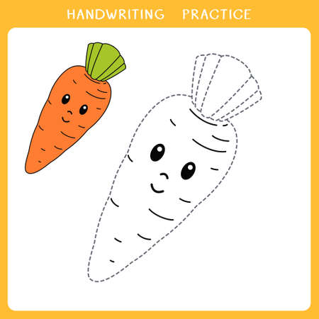 Handwriting practice sheet. Simple educational game for kids. Vector illustration of cute carrot for coloring book Illusztráció