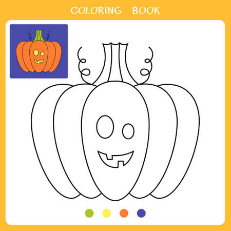 Simple educational game for kids. Vector illustration of cute halloween pumpkin for coloring book