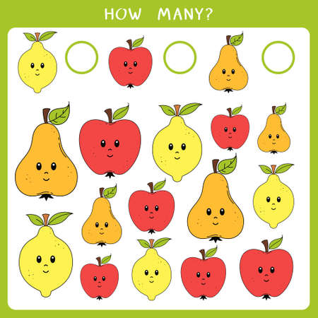 Educational math game for kids. Count how many apples, pears and lemons and write the result. Vector worksheet