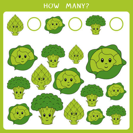 Educational math game for kids. Count how many broccoli, cabbage and artichoke and write the result. Vector worksheet