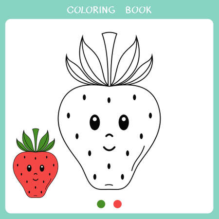 Simple educational game for kids. Vector illustration of cute strawberry for coloring book