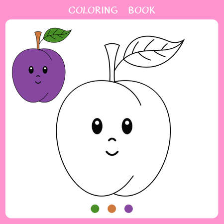 Simple educational game for kids. Vector illustration of cute plum for coloring book