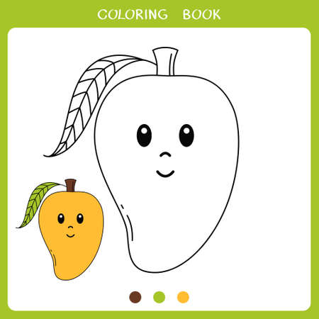 Simple educational game for kids. Vector illustration of cute mango for coloring book Illustration