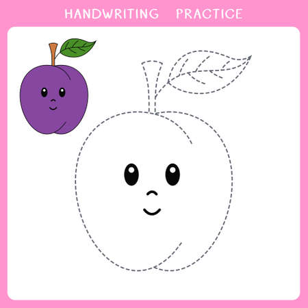 Handwriting practice sheet. Simple educational game for kids. Vector illustration of cute plum for coloring book