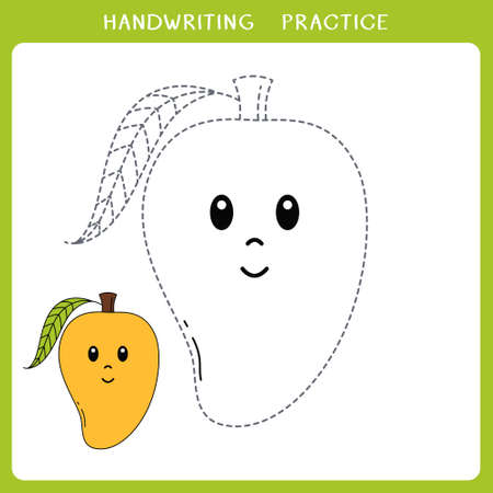Handwriting practice sheet. Simple educational game for kids. Vector illustration of cute mango for coloring book