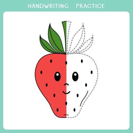 Handwriting practice sheet. Simple educational game for kids. Vector illustration of cute strawberry for coloring book