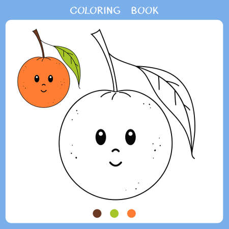 Simple educational game for kids. Vector illustration of cute orange for coloring book