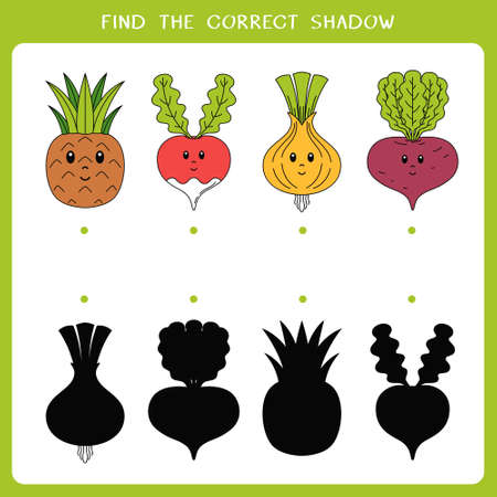 Find the correct shadow for vegetable and fruit. Vector worksheet of simple educational game for kids