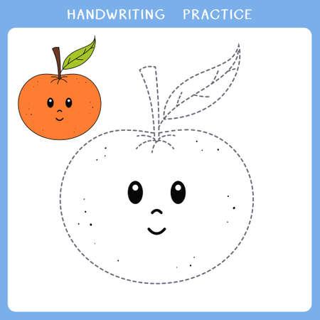 Handwriting practice sheet. Simple educational game for kids. Vector illustration of cute mandarin orange for coloring book