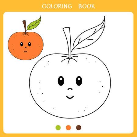 Simple educational game for kids. Vector illustration of cute mandarin orange for coloring book Illustration