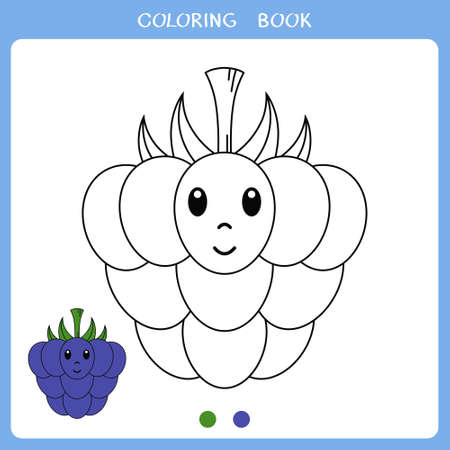 Simple educational game for kids. Vector illustration of cute blackberry for coloring book