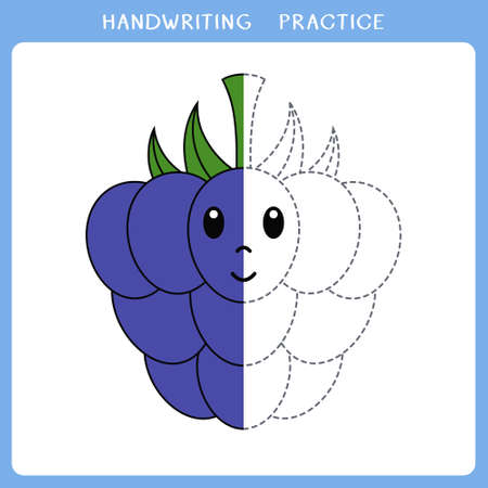 Handwriting practice sheet. Simple educational game for kids. Vector illustration of cute blackberry for coloring book