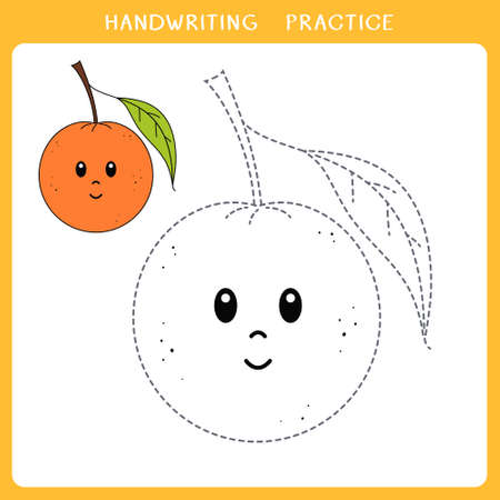 Handwriting practice sheet. Simple educational game for kids. Vector illustration of cute orange for coloring book