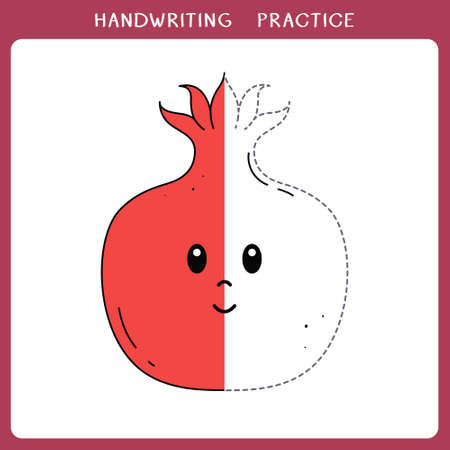 Handwriting practice sheet. Simple educational game for kids. Vector illustration of cute pomegranate for coloring book