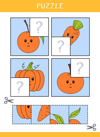 Puzzle for kids. Find the missing parts of the picture. Simple educational game. Cut and glue. Vector worksheet Illustration