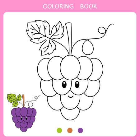 Simple educational game for kids. Vector illustration of cute bunch of grapes for coloring book