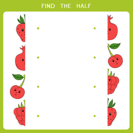 Find the half for fruits. Vector worksheet of simple educational game for kids