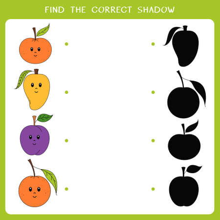 Find the correct shadow for fruit. Vector worksheet of simple educational game for kids