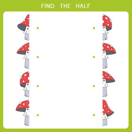 Find the half for mushroom. Vector worksheet of simple educational game for kids Illustration