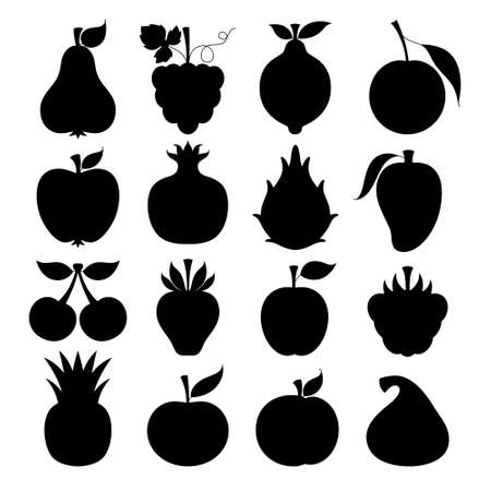 Set of vector silhouettes of stylized fruits and berries Illustration