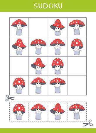 Sudoku for kids. Simple logic game. Cut and glue. Vector illustration Illustration