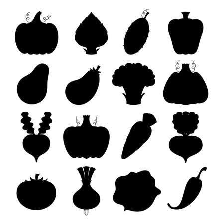 Set of vector silhouettes of stylized vegetables Illustration